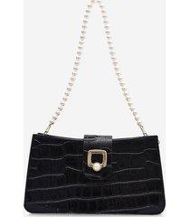 faux pearl strap textured shoulder bag