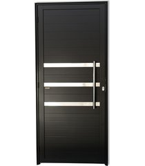 porta direita com friso e puxador em alumínio super 25 210x80cm preta