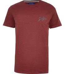 mens jack and jones red short sleeve t-shirt
