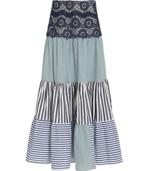 flager embroidered striped cotton skirt