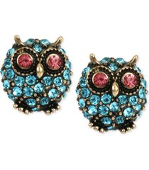 betsey johnson gold-tone blue pave owl stud earrings