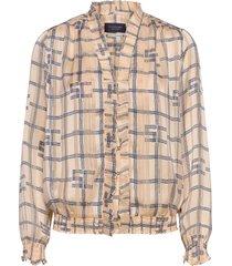 feminine top with ruffle around the neckline blouse lange mouwen beige scotch & soda