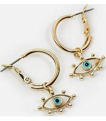 *syd & ell pearl eye charm hoops by skinnydip - gold