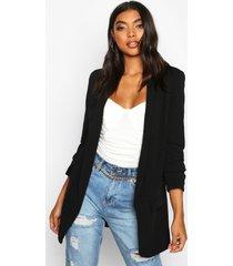 tall ruched sleeve blazer, black