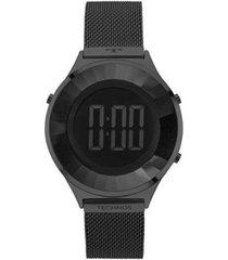 relógio technos crystal preto - bj3851ae/4p feminino