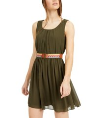 bcx juniors' belted fit & flare dress