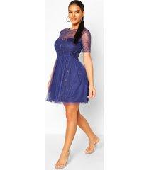 boutique embellished skater dress, navy