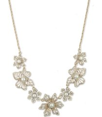 """marchesa gold-tone crystal & imitation pearl flower frontal necklace, 16"""" + 3"""" extender"""