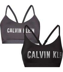 calvin klein 2-pack low support en support bralette - zwart