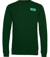 crewneck sweat with subtle chest artworks sweat-shirt trui groen scotch & soda