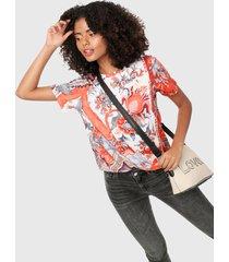camiseta blanco-naranja desigual