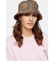 khaki paisley reversible bucket hat - khaki