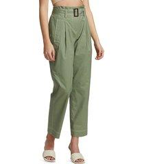 jonathan simkhai women's belted utility trench pants - army green - size 6