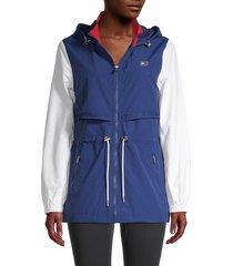 tommy hilfiger sport women's colorblock taslan nylon & mesh hooded jacket - deep blue - size xs