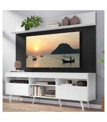 """rack com painel tv 65"""" madri multimóveis branco/preto com prateleira e pés retrô branco"""