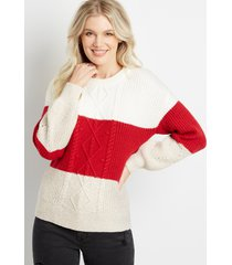 maurices womens red colorblock cable knit bobble pullover sweater beige