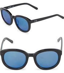 aqs women's 51mm round sunglasses - black