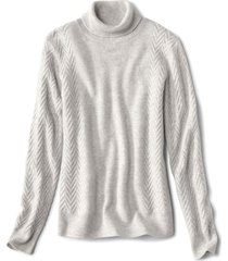 herringbone-stitch cashmere turtleneck sweater