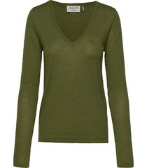 merino pullover ls stickad tröja grön rosemunde