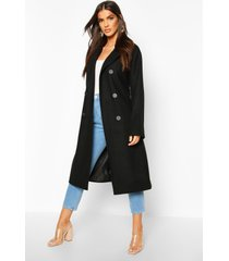 double breasted belted wool look coat, black