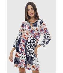 vestido viscose estampado floral manga 3/4 sob patchwork feminino - feminino