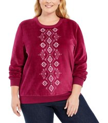 alfred dunner plus size bright idea embellished velour top