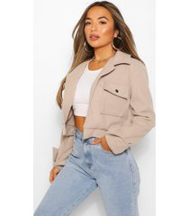 petite cropped popper front jacket, stone