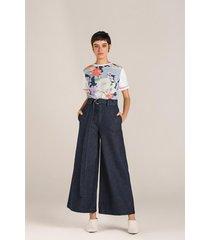 t-shirt leboh decote redondo detalhe retilinea azul azul - azul - feminino - dafiti