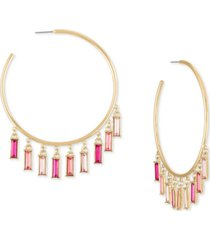 rachel rachel roy gold-tone pink baguette shaky large hoop earrings, 3""