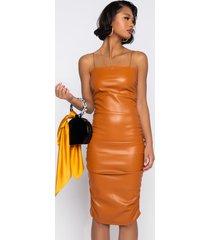 akira she's for keeps midi tank faux leather dress