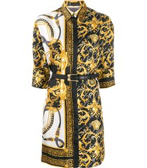versace barocco fitted shirt dress - yellow