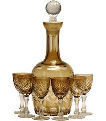 licoreira de vidro decorativa âmbar com 6 taças