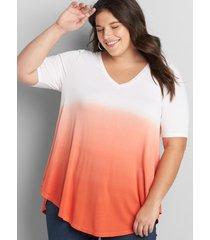 lane bryant women's perfect sleeve max swing tunic tee 10/12 sun kissed coral