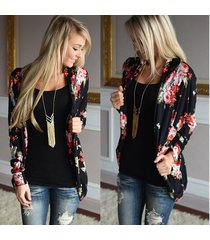 basic coats loose outerwear tops women kimono floral long sleeve cardigan navy