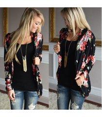 basic coats loose outerwear tops women kimono floral long sleeve cardigan navy