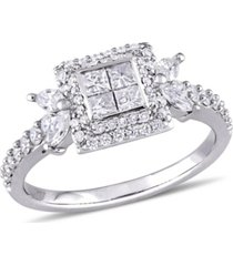 princess- cut certified diamond (1 ct. t.w.) quad halo engagement ring in 14k white gold
