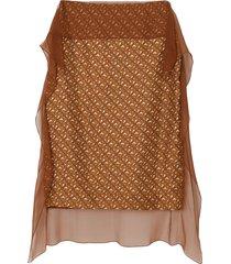 burberry scarf detail monogram print silk pencil skirt - brown