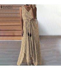 zanzea vestido de playa con estampado de lunares para mujer sin mangas vestidos de fiesta con cordones -caqui