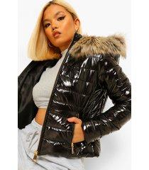 petite glanzende strakke gewatteerde jas met faux fur zoom, black