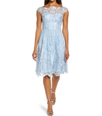chi chi london lace skater cocktail dress, size 12 in blue at nordstrom