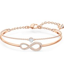 swarovski crystal infinity symbol double-row bangle bracelet