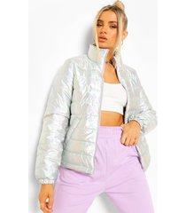 metallic gewatteerde jas met hoge kraag, silver