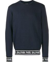 balmain logo strap sweatshirt - blue