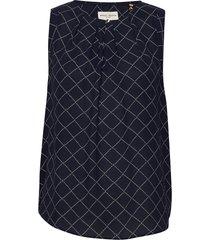 blouse summer blus ärmlös blå lindex
