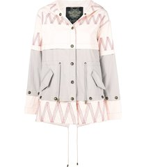 mr & mrs italy embroidered mini parka - pink