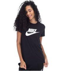 camiseta nike sportswear essential icon futura - feminina - preto/branco