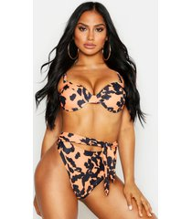 leopard underwired high waisted bikini, brown