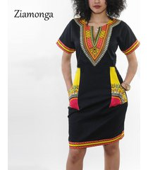 fashion women's traditional african print dashiki dress short sleeve party dress
