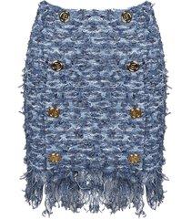 balmain fringed stretch tweed skirt