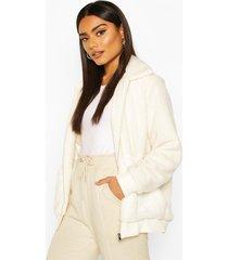 teddy faux fur bomber jacket, ivory